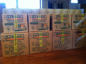 Seattle personal assistant Amy Woidtke. Labeled Moving Boxes